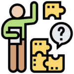 Bild på en person som ställer frågor. Ska illustrera diverse frågor som finns angående spelsajter och EU licens.