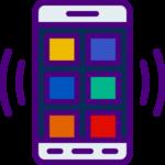 Bild som visar en mobiltelefon som beskriver hur app ser ut på casilando