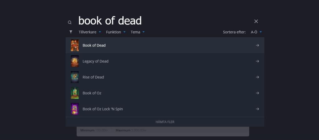 bild på sökrutan för att hjälpa läsare att hitta rätt spel.